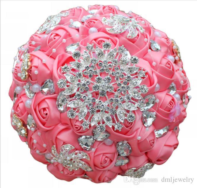 Artificial Wedding Bouquets Handmade Ribbon Red Roses Flowers Crystal Rhinestone Bridal Wedding Bouquet Bridesmaid Wedding Accesories 18cm