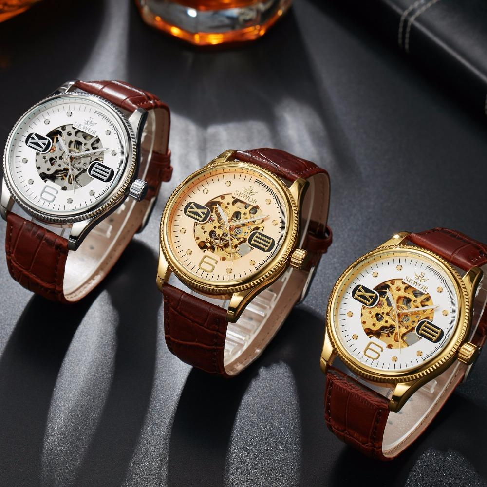 SEWOR Men Classic Luxury Mechanical Wristwatch Leather Luxury Man Automatic Self-Wind Watches Business Mens Skeleton Watch SWQ46