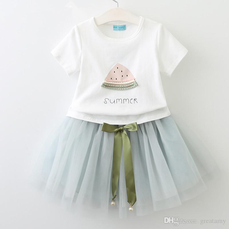 kids clothing girls fashion dress set short sleeve T-shirt+skirts girl's outfits children set kids boutiques dresses summer boutique suit