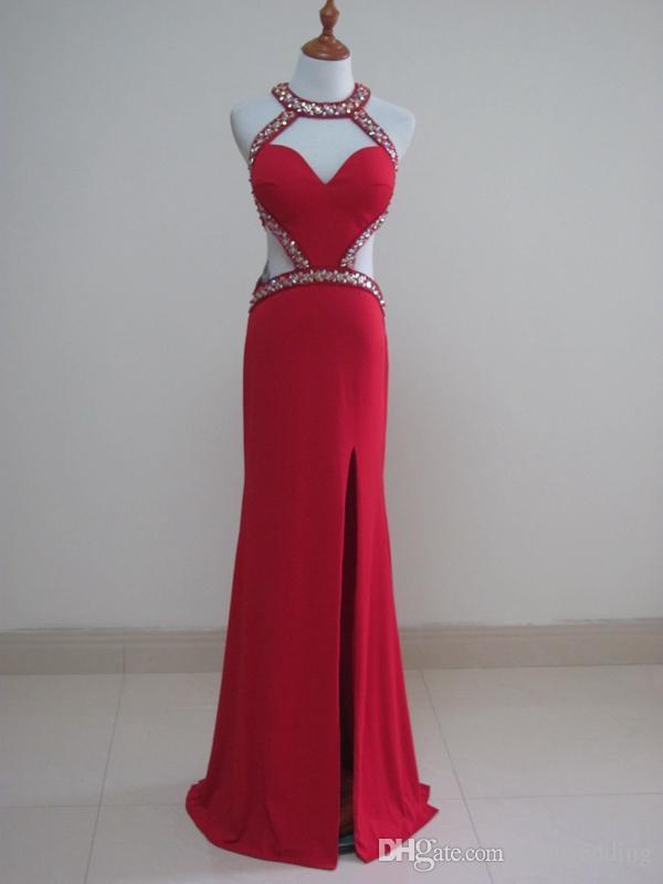 Vestidos de noche largos divididos atractivos de la gasa Vestido de partido rojo de la envoltura de la longitud del piso 2019 ahueca hacia fuera