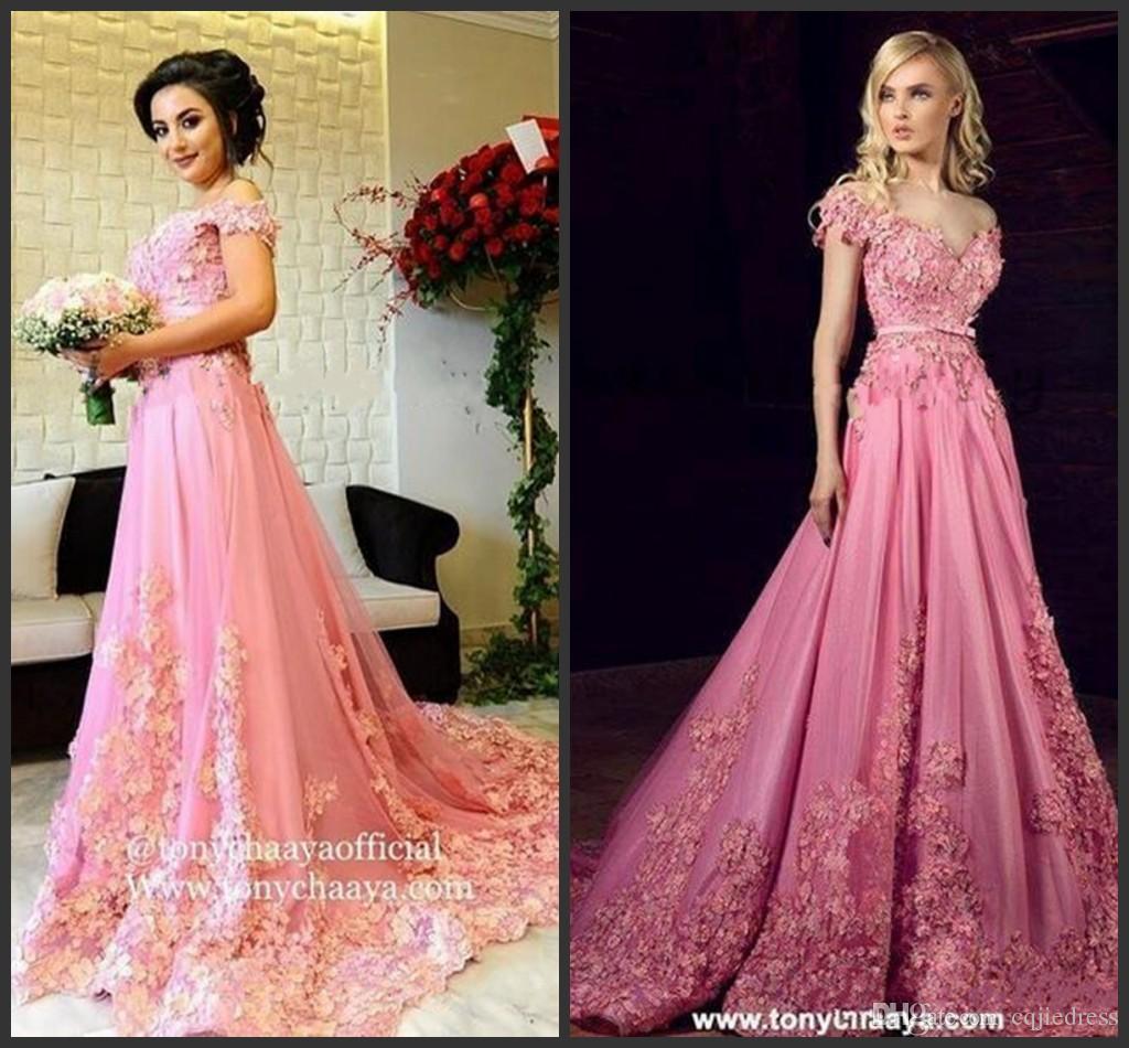 2018 Nuevo rosa 3D Applique floral Prom Party Dresses Modest Tony Chaaya hombro Dubai Dubai Kaftan vestido de noche de la longitud completa de la princesa