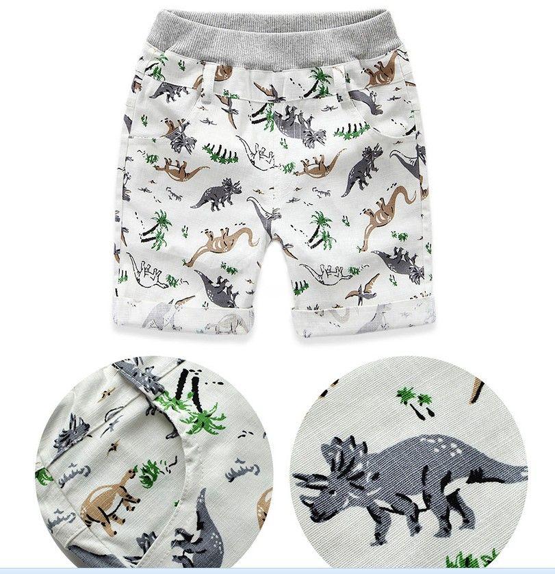 Niños Summer Pant Dinosour Imprimir Pantalón corto Pantalón de algodón Lino Animalización Dibujos animados Verano Playa Brefegable Boys Pant