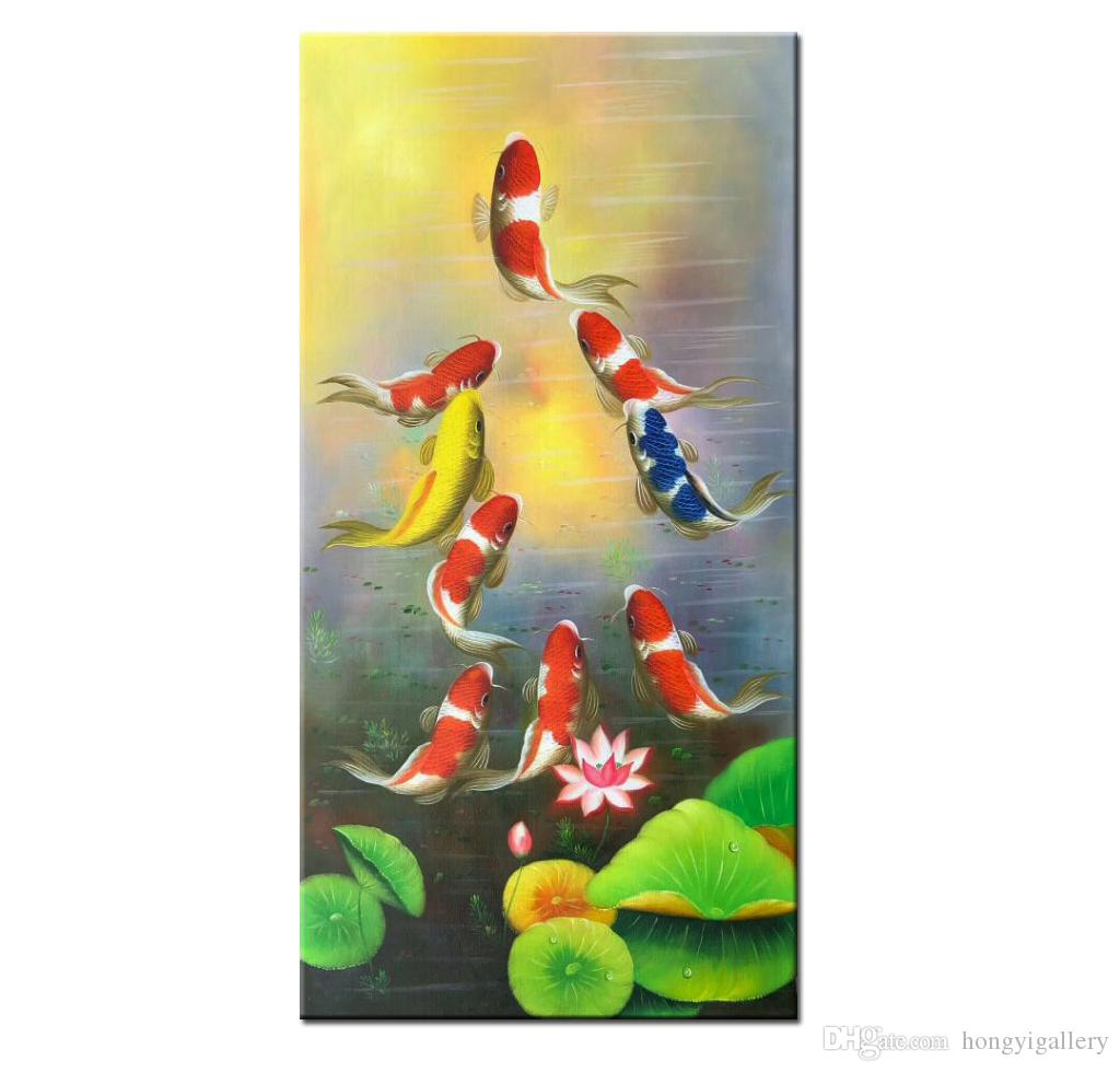 Pintados à mão moderna da lona Feng Shui Zen Abstract Wall Art Koi Fish Oil animal Pintura da China vento asiático Início Decoration.Multi tamanhos AFS01