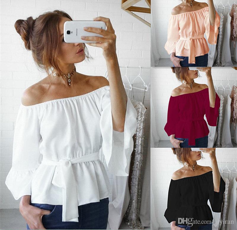 2020 Spring Fashion Ladies Fashion Designer Design Open Shoulder Casual Top Party Fashion Tie Shirt Chiffon Material M L Xl Xxl From Liyiran 9 05 Dhgate Com
