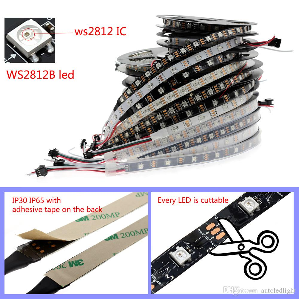 DC5V individually addressable ws2812b led strip light white/black PCB 30/60/144 pixels, smart RGB 2812 led tape ribbon waterproof IP67/IP20