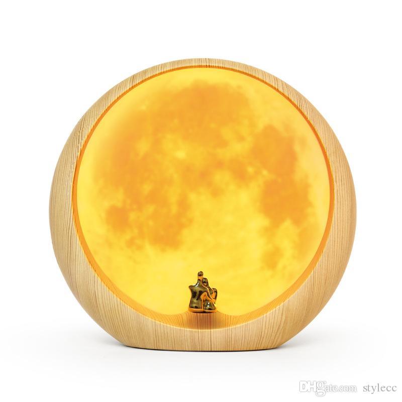 diseño personalizado envío libre regalo de Navidad Viernes LED fuente de luz de luna OEM protección ocular USB al por mayor amarillo cálido tipo de iluminación de la lámpara azul
