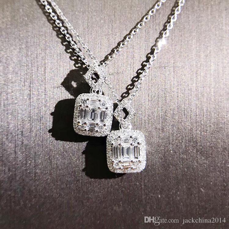 Марка роскошные ювелирные изделия Уникальный ручной работы T Принцесса Cut 5A цирконий CZ Алмаз площадь кулон мода вечность ключицы Ожерелье для женщин подарок