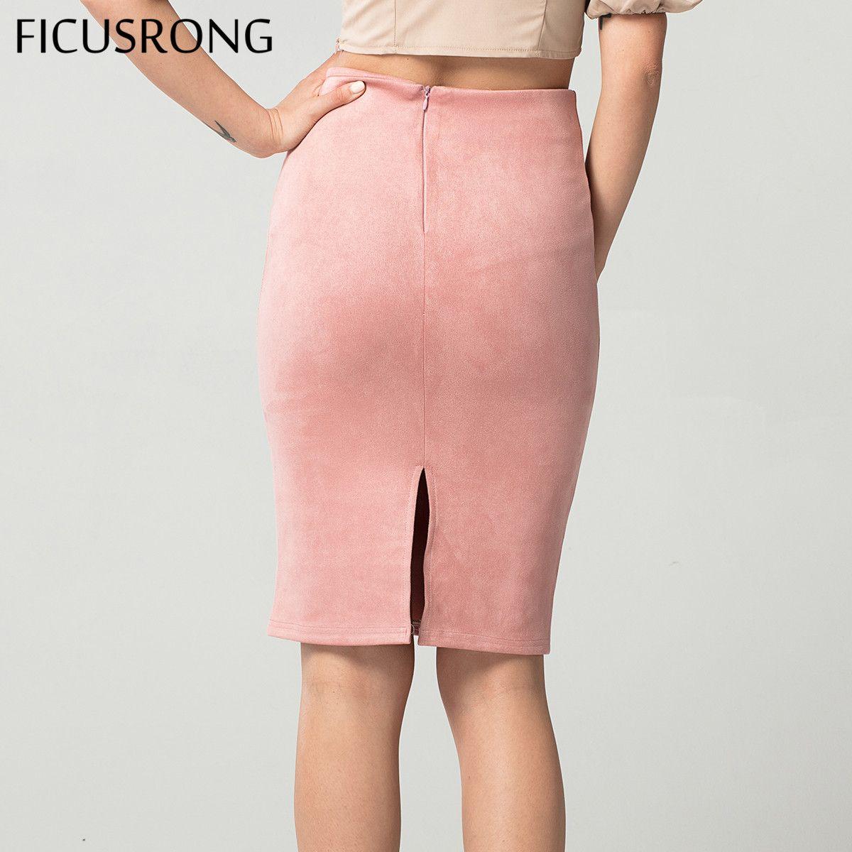 038813ffbfa394 FICUSRONG New Women Skirts Suede Solid Pencil Skirt Female Autumn Winter High  Waist Bodycon Vintage Split