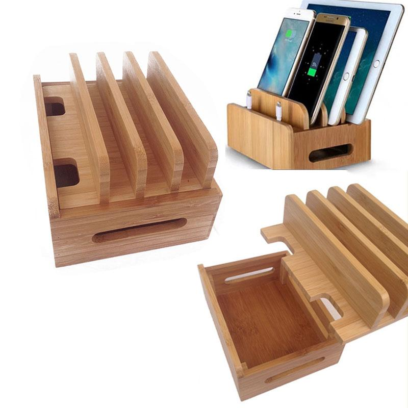 Multifunction Bamboo Mobile Phone Holder Cords Organizer Stand Charging Station For iPhone For Samsung Phone/Tablet Universal