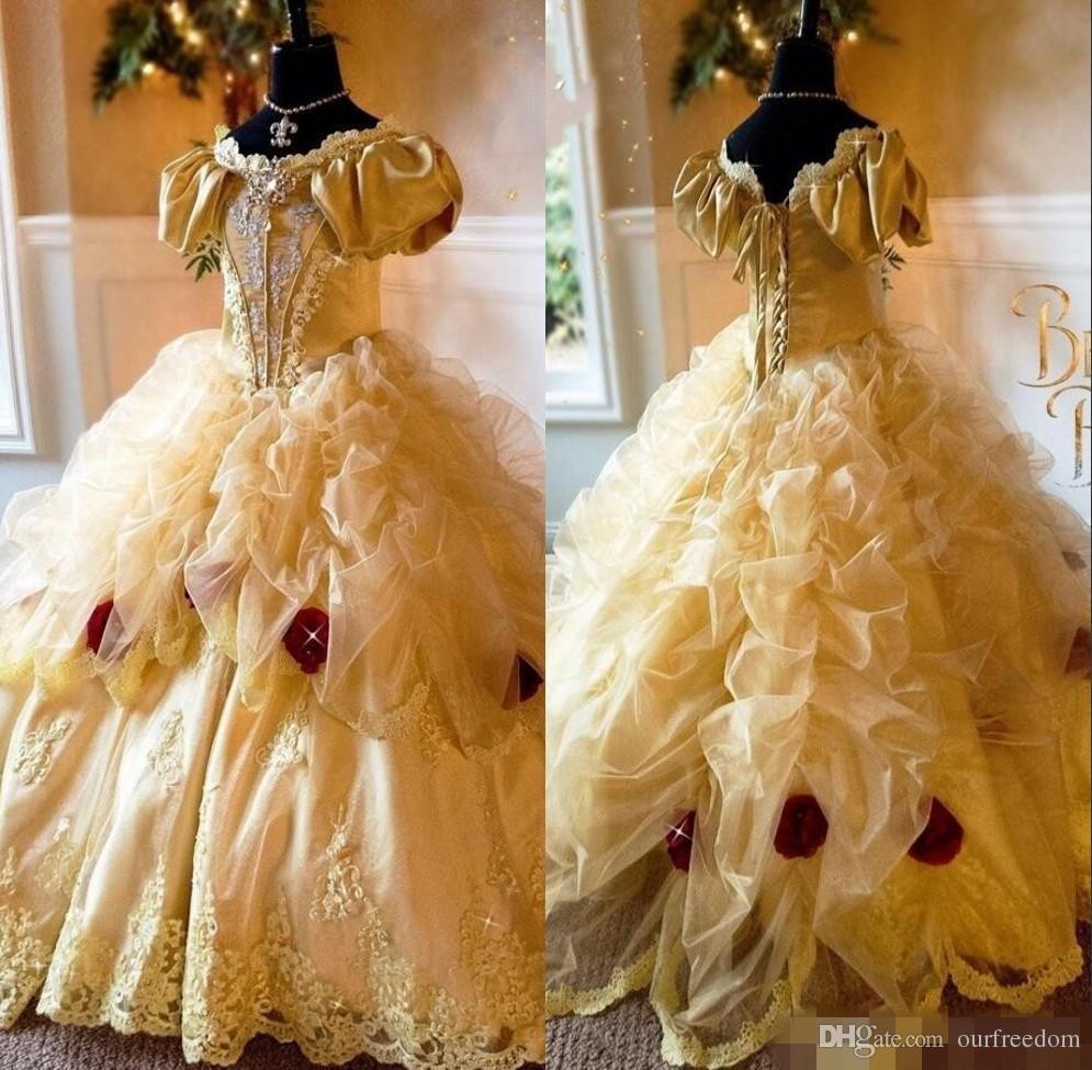 Princesse girls pageant robe robe faite main fleurs cristal appliques robe de bal toddler robe d'anniversaire robe de fées Fairy Tale Robes de fille
