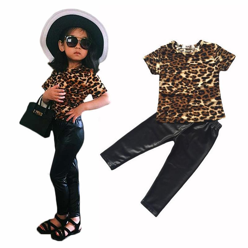 새로운 bebe 패션 차가운 아이 소녀 옷 세트 레오파드 인쇄 티셔츠 PU 가죽 가죽 바지 legging 2 조각 seT