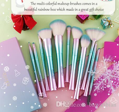 11 개 메이크업 브러쉬 세트 최고의 크리스마스 선물 재단 아이 섀도우 브러쉬 화장품 부드러운 합성 머리