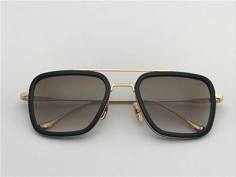 Мужчины / женщины Square Gold / Black Солнцезащитные очки Gafas от золь Солнцезащитные очки марочные очки Новый с коробкой DNUM180721-18