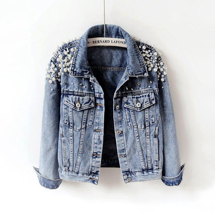 2018 Primavera Outono Mulheres Básico Coats Mulheres Denim Jacket Pérolas Beading Moda Jeans Brasão soltas manga comprida Casacos 898