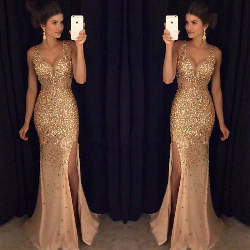 2019 New Golden Long Mermaid Prom Dresses with Rhinestones Evening Party Gown Real Dress Vestido de Formatura Longo