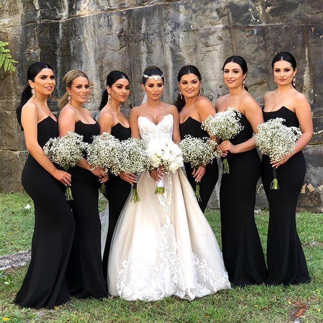 Compre 2019 Vestidos De Dama De Honor Sin Tirantes Negros Sirena Gasa Hasta El Suelo Dama De Honor Vestido De Novia Vestido Formal Desgaste Por