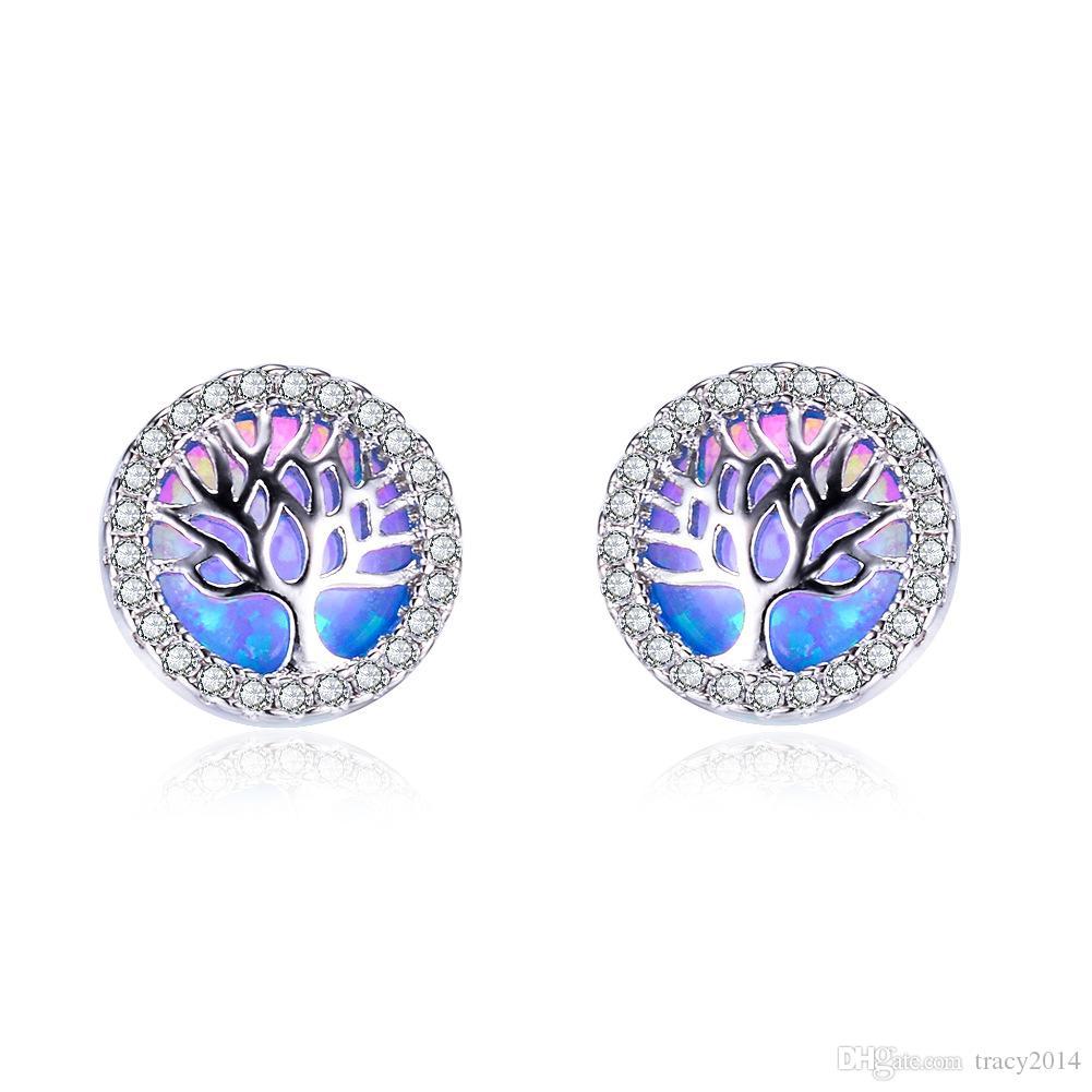 Жизнь Дерево Огонь опал серьги для женщин девочек натуральный камень стерлингового серебра 925 мотаться серьги