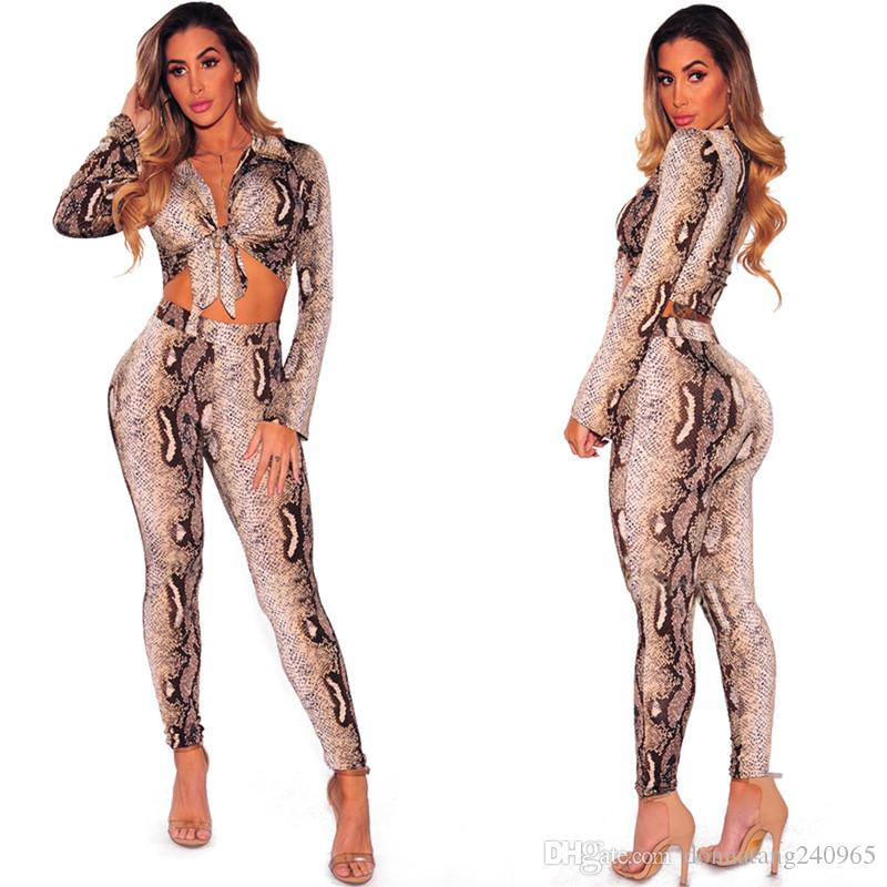 2018 Women Two Piece Set Snake Printed Long Sleeve Blouses Tops Pants Suit 2PCS Fashion Suits Outfit