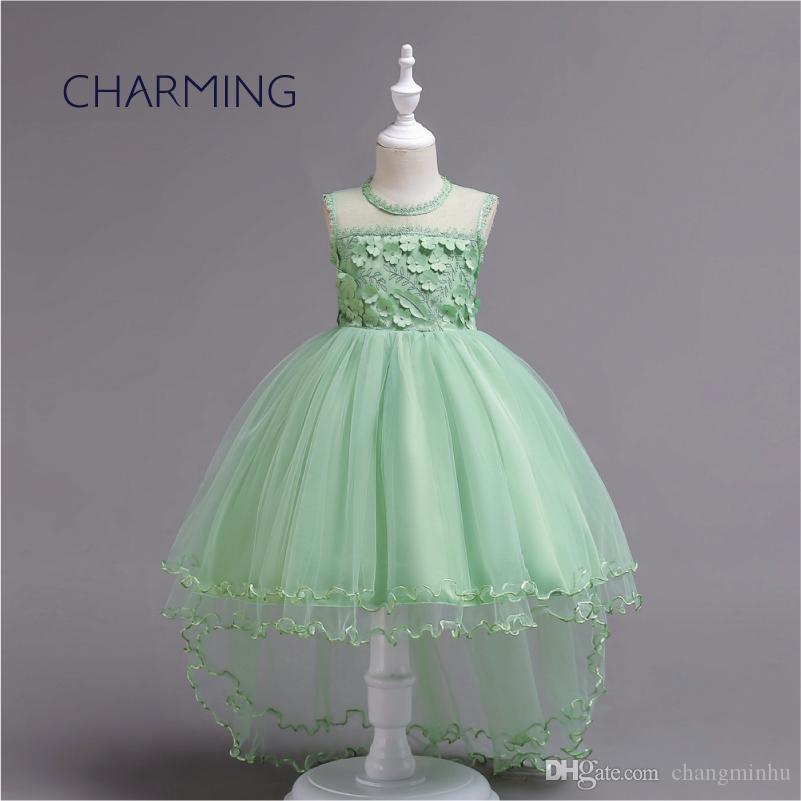Милые платья для девочек для маленькой девочки цветочница платье дети платье принцессы высокое качество ткани спереди короткие длинные стиль большие девочки
