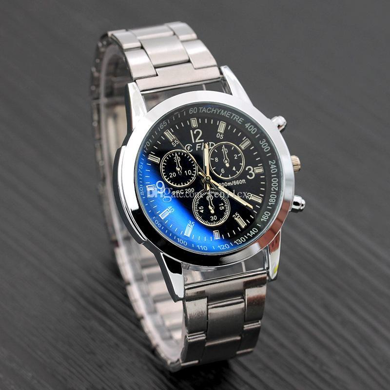 Business Mens Watches Casual Luxury Steel strap Men Blue Ray Glass Quartz Watch Fashion Cool Clock Relogio Masculino