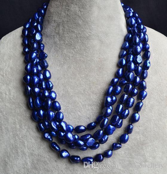 Neuer Ankömmling 100inches langer Perlen-Schmuck, blaue Farbe barocke echte Frischwasserperlen-Halskette, freies Verschiffen
