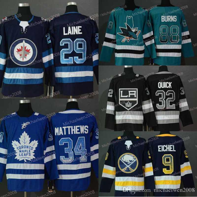 Männer 2019 Neue Home Mode-Druck allmähliche Änderung Jersey 34 AustonMatthews 9 Jack Eichel 29 Patrik Laine 32 Quick 88 Burns Hockey-Trikots