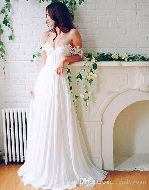 Praia casamento Chiffon A linha longo vestidos de noiva com pregas Piso Off-Ombro boho Vestidos de casamento Custom Made