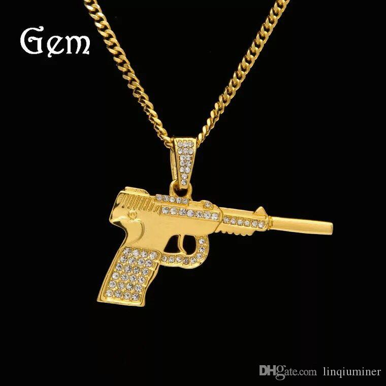 New Uzi Gold Chain Hip Hop Long Pendant Necklace Men Fashion Brand Gun Pistol Pendant Maxi Necklace HIPHOP Jewelry
