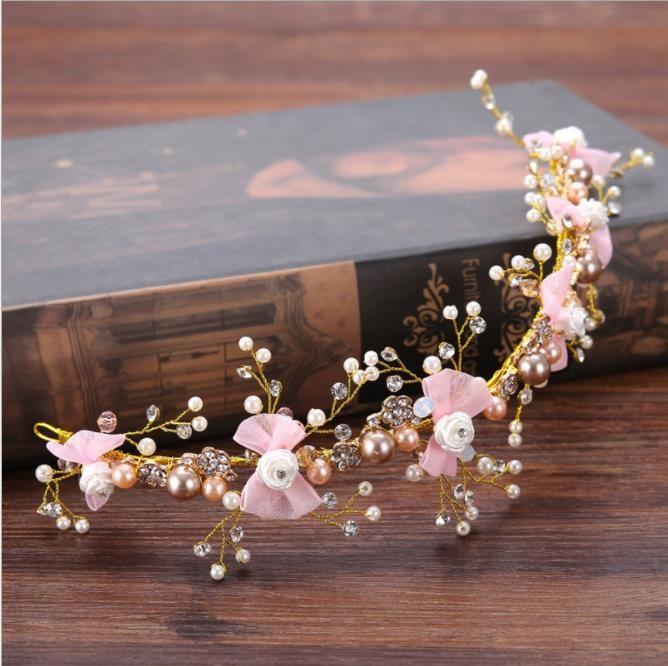 Bridal ornaments, pink butterfly, hair ribbon, flower drill, brides, wedding accessories, headbands.