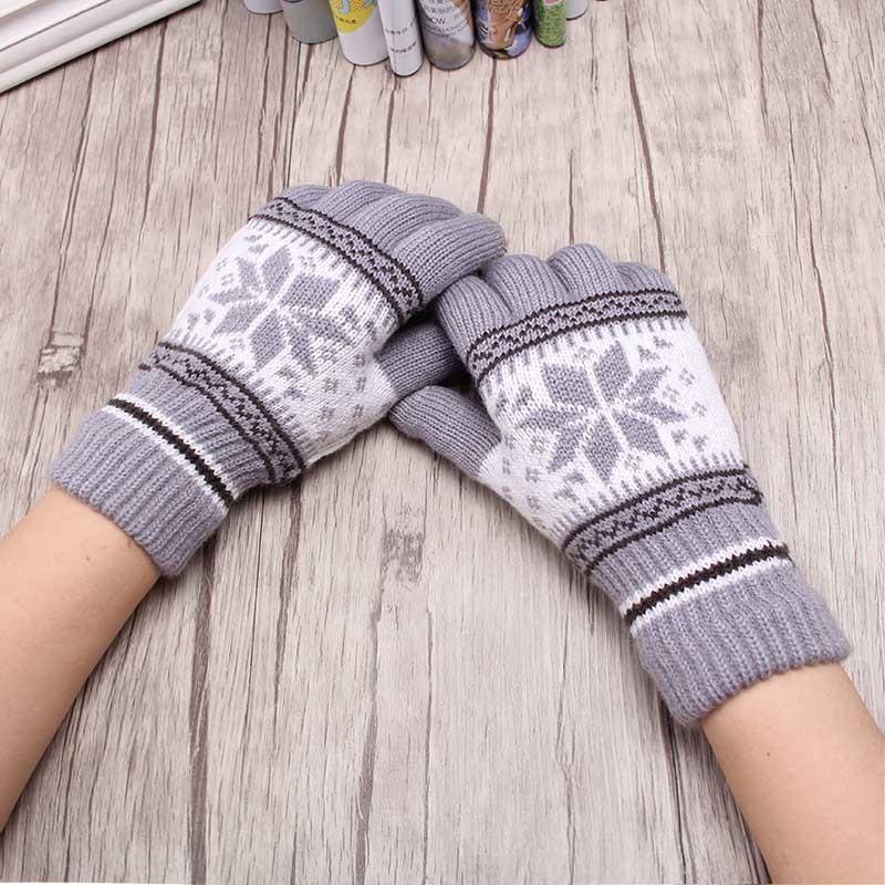 New Hot Sale Fashion Guantes Men &Women Winter Warm Gloves 4 Colors Knitting Snowflake Pattern Full Finger Gloves&Mittens Luvas D18110806