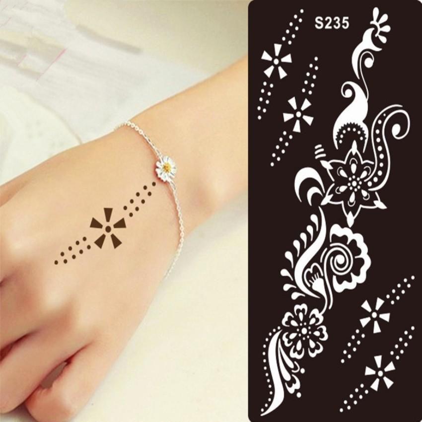 1PCS Henna Tattoo Stencil For Glitter Tattoo Template Temporary Black Mehndi Indian Tattoo Stencils for Painting Henna Kit