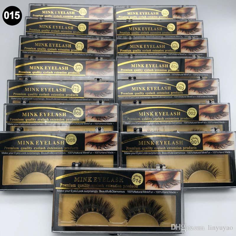 3D Vizon Yanlış kirpik 15 Stilleri El Yapımı Güzellik Kalın Uzun Yumuşak Vizon Kirpikler Sahte Göz Lashes Kirpik