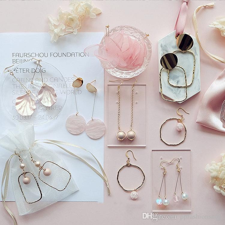 Le ragazze lunghe selvagge semplici ins in rosa di amore orecchini delle coperture egeometry orecchini di ardrop prenota il trasporto libero dei monili