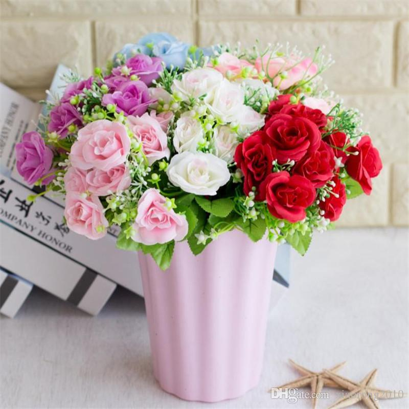 Fake Rose Bunch (10 heads/piece) Simulation Roses with Plastic Accessories Green Leaf for Wedding Home Decorative Artificial Flowers