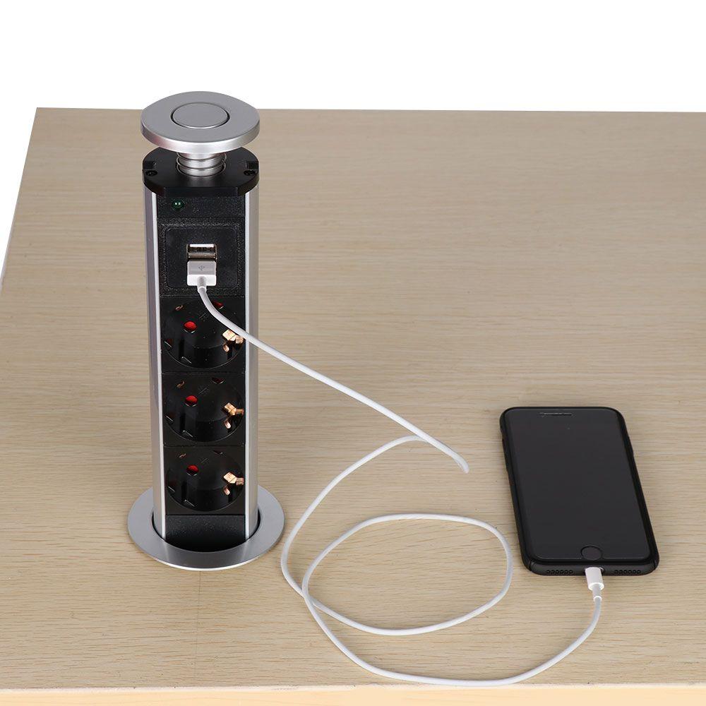 EU Plug 3 power Hidden Kitchen Table Pop Up Electrical Socket Power 1 Led+2 charge USB Aluminum Shelf Silver/Black