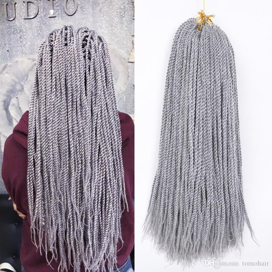 Crochet senegalese twist Braids Pure/Ombre Grey Brown Braiding Hair Extensions African American Woman Synthetic Braided Hair 30Roots/pack