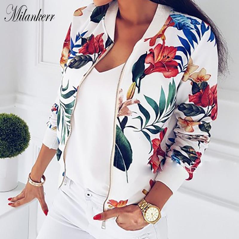 Новые женщины Ribbed Trim Flower Print Bomber Куртка Женская Осень Мода С Длинным Рукавом Повседневная Верхняя Верхняя Комат Молния Пиджака Волшебьев Свободные Топы