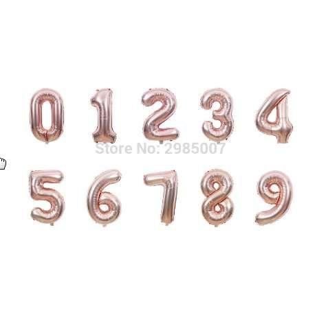 1 stücke 40 zoll rose gold anzahl luftballons 0/1/2/3/4/5/6/7/8/9 riesigen digitalen aluminiumfolie ballon 16 20 30 geburtstag