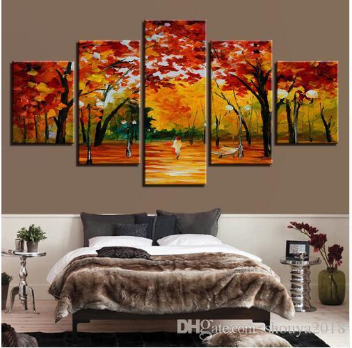 Ücretsiz kargo Soyut 5 Parça Orman Ağaçları Parkı Manzara Resimleri Modüler Tuval HD Baskılar Posterler Sanat Duvar Resimleri Yaşam Yağı ...