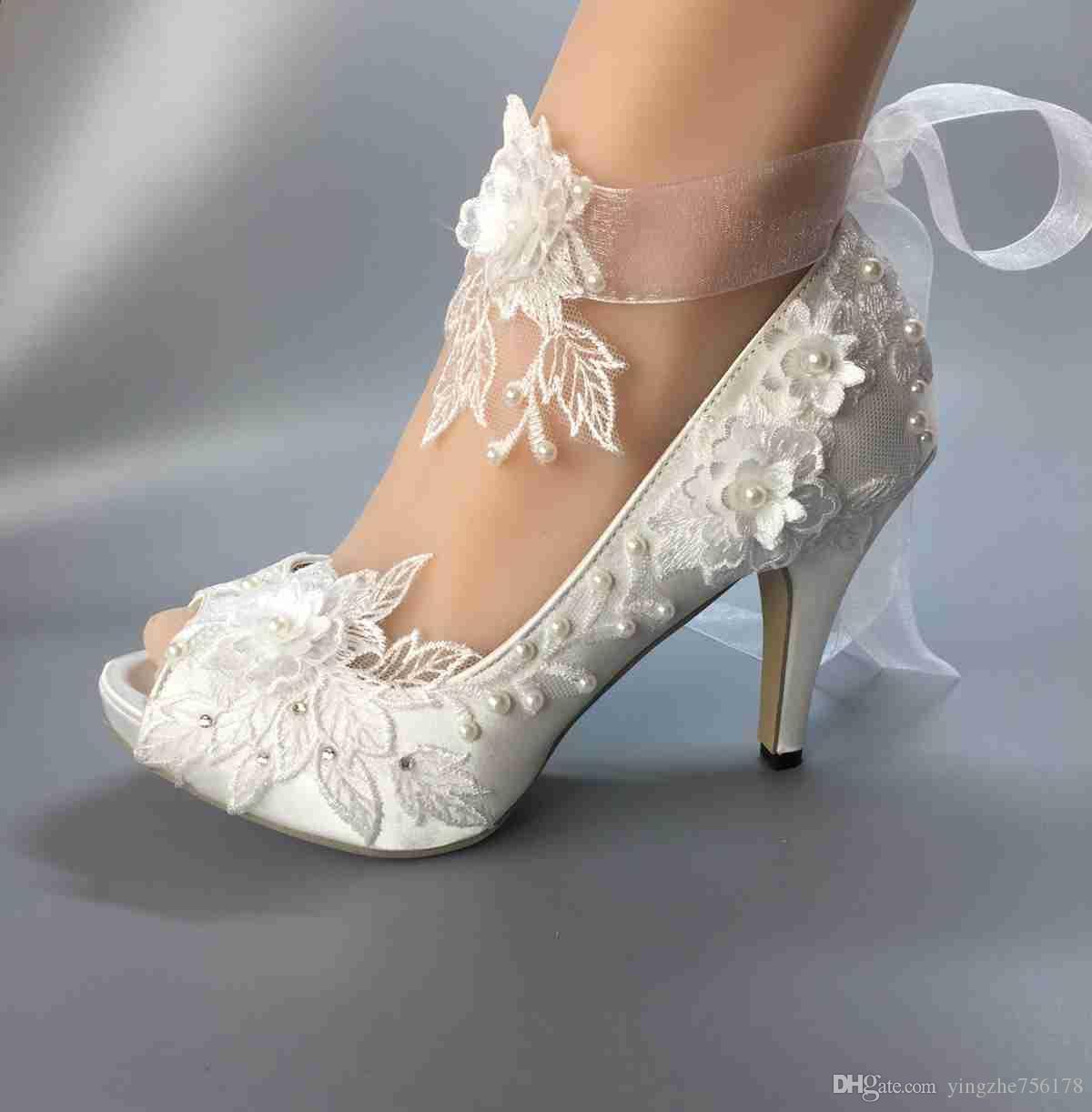 Wedding Shoes Waterproof White Ivory Bride Wedding Dresses Peep
