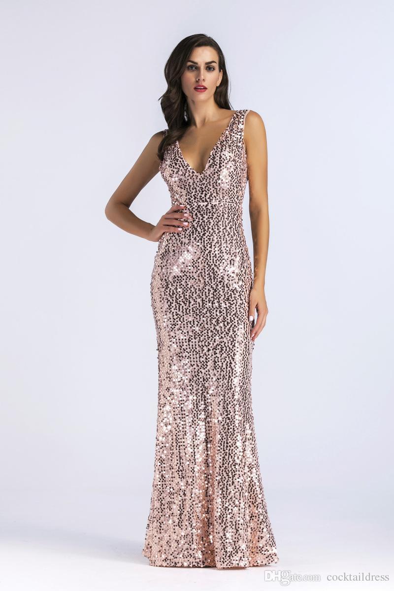 novo estilo hot damas de honra sexy v-pescoço sem mangas frisado vestidos de lantejoulas fábrica de fornecimento paetês de ouro vestido de baile de casamento