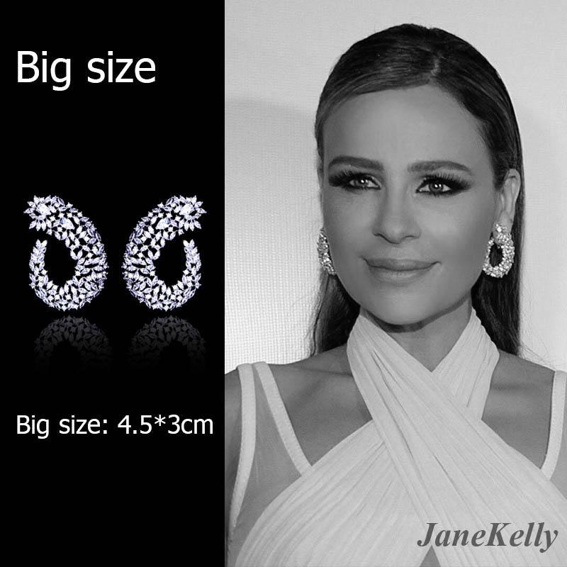 JaneKell ünlü Tasarım Lüks Popüler Geometri Çiçek Tam Mirco Kaplamalı Kübik Zirkonya Düğün Küpe Moda Takı