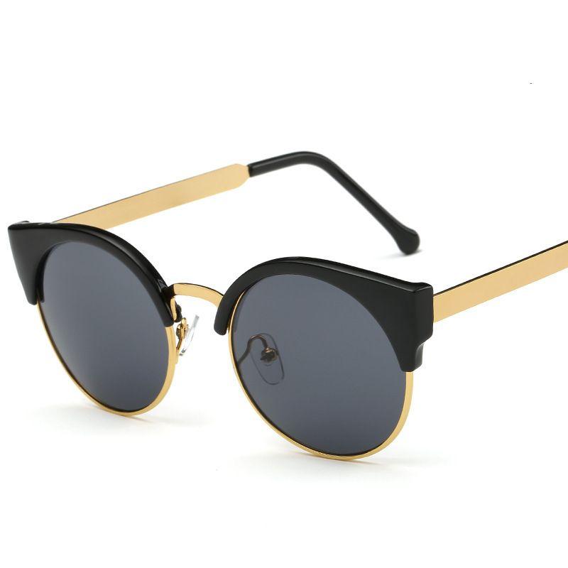 Moda Feminina Cat Eye Óculos de Sol Metade Quadro Rodada Óculos de Olho de Gato Sexy Óculos Vintage Frames Marca Designer Eyewear UV400