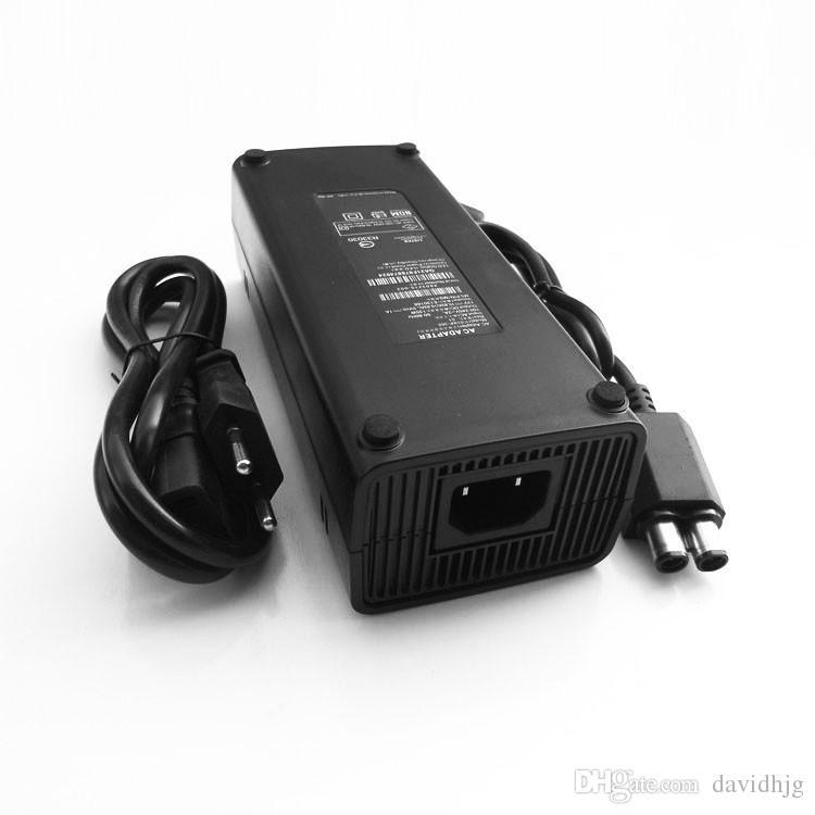 Caricatore adattatore CA / UE 220 V Caricabatterie ricarica Cavo di alimentazione per Microsoft XBox 360 x-360 S Slim 135W Alimentatore