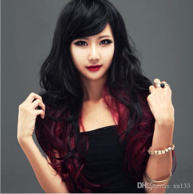 Moda nero mix rosso lungo ricci ondulato donne signora cosplay parrucca del partito parrucche + cappuccio