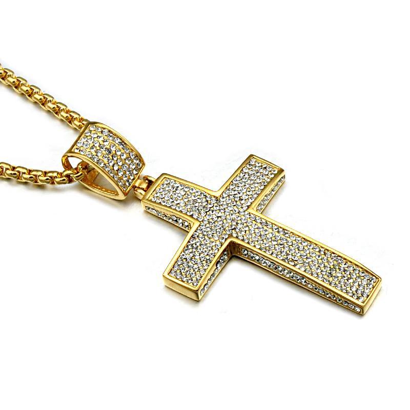 Religión Color dorado Iced Out Cruz Collar Pavimentación Cz Cruz de acero inoxidable Crucifijo Colgantes Collares Joyas Hombres Mujeres Halloween