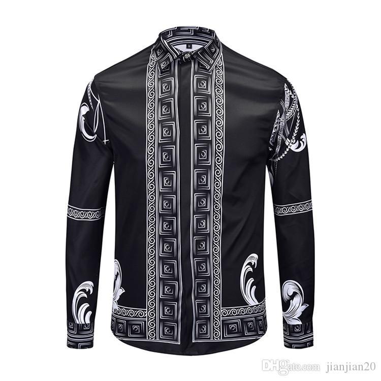 Patlama modelleri erkek gömlek pamuk yüksek dereceli baskı uzun kollu gömlek gençlik moda yakışıklı yaka erkek rahat gömlek 18807 #