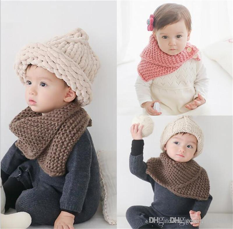 6 Colors Baby Winter Scarf Wool Cloak Collar Button Shawl Children Handmade Knitted Wool Neck Scarves for Children TO356