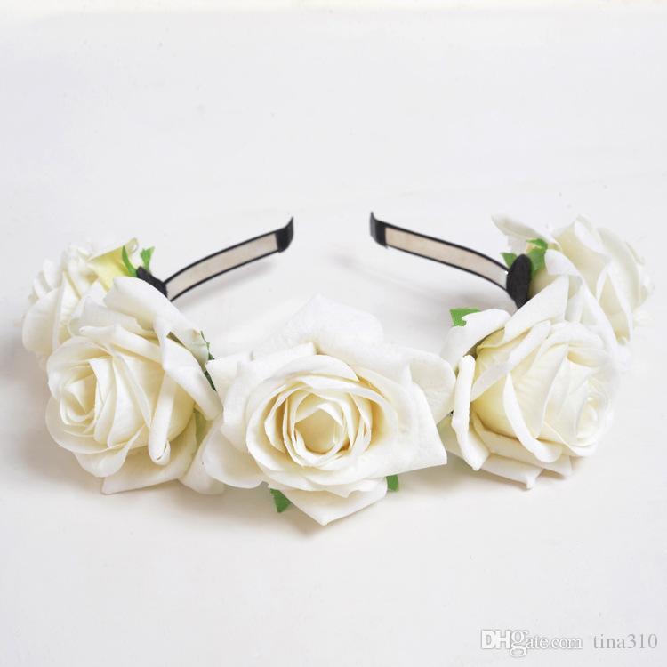 Multi-Cor do cabelo grinalda Arcos Bohemia Handmade artificial levantou-se Hairband flor à beira-mar hairband nupcial do casamento cocar coroa grinalda T6I058