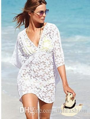 New Summer Bikini Cover Up Costume da bagno Lace Hollow Crochet Beach Bikini Cover Up Top da donna Costumi da bagno Beach Dress White Beach Tunica Shirt